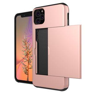 İçin Kılıf Yeni iPhone 11 Xs Samsung S10 Not 9 Kart Yuvası Slayt Tasarımı İki-bir-arada paramparça dayanıklı Şok Koruma Kapak
