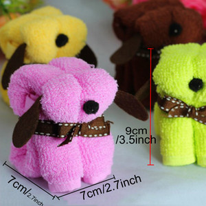 Promotion Gift Dog Shaped Cartoon Towels 30*30cm Solid Color Microfiber Towels With PVC Box Festival Wedding Gift Cotton Towel DH0928-1 T03