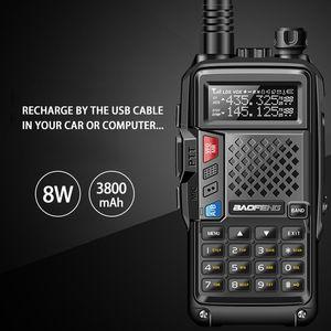 ellphones Telecomunicaciones 2020 BAOFENG BF-8W UVB3 PLUS de alta potencia UHF / VHF de banda dual a 10 KM de largo alcance walkie talkie Thickenbattery Mul ...