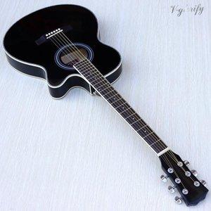delgada cuerpo acústico-eléctrico guitarra para principiantes guitarra con funda libre de cadena libre de color blanco natural de rayos de sol negro