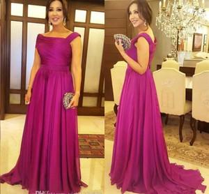Mãe fúcsia elegante do comprimento vestidos de noiva drapeado Piso Plus Size Mulheres Evening Prom Party Dress Mãe de convidados do casamento Vestidos