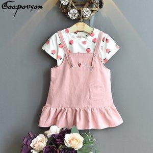 Gooporson Vêtements pour enfants Filles Fraise Imprimé Shirtletter Broderie bretelles Jupe Little Fashion Vêtements pour enfants coréens