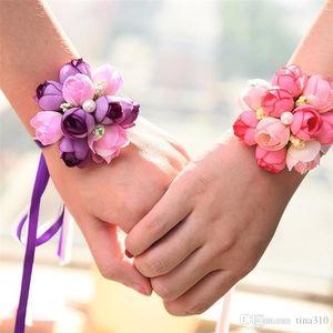 Hot venda imitação de casamento flor pulso dama de honra irmãs pulso buquê de casamento Decoração nupcial Prom Mão flor T3I0007