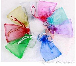 Comercio al por mayor de joyería 7 * 9 cm Bolsas joyería mezclada Organza del banquete de boda del favor del regalo de Navidad Bolsas Púrpura Azul Rosa Amarillo Negro con el lazo