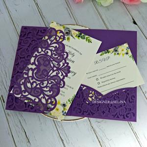 Por convite do casamento DHL lindo roxo Shimmer Laser Cut Convites de casamento de bolso com Jacket RSVP Cartão DIY