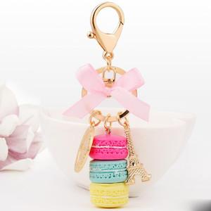 Nuova chiave torta dell'automobile di modo anello portachiavi donne accessori fascino del sacchetto Francia Torta Macarons con la Torre Eiffel Portachiavi Gioielli regalo