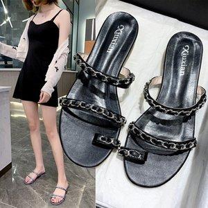 Slippers Women Summer Shoes Luxury Slides Pantofle Med Square heel Rubber Flip Flops Designer 2020 Soft Block Hawaiian PU Hoof