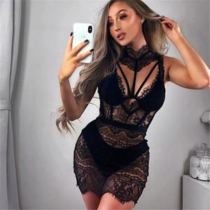 Sexy Lace Womans Nightdress Short Sleepwear See-through Night Dress Lady Black Red Lace Nightgowns Night Dress Women