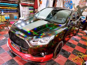 Черный лазерный хромирования Винил Голографических Авто Wrap фильм Радуги тела автомобиль украшение Chrome Наклейка Наклейка Размер 1.52x20M