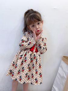 2020 Fall New Girls Print princess Dress Children Letter Bowknot Printed Long Sleeve Princess Dress Kids Ruffle Birthday Dresses S249