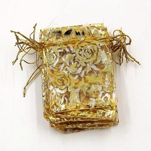 Hot sell ! 100Pcs Jewelry Packing Gold Roses Organza Pouch Wedding Favor Gift Bags 7x9cm  9x12cm   13x18cm