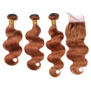 Pure 30 3Bundles malese onda ondulato dei capelli umani tessuto trame con chiusura medio Auburn corpo dei capelli del Virgin con frontale chiusura del merletto 4x4