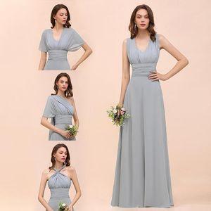 Gerçek Resimleri 2020 Tozlu Mavi Dönüştürülebilir Gelinlik Modelleri şifon Floor Uzunluk Plaj Wedding Guest Parti Abiye Örgün Elbise
