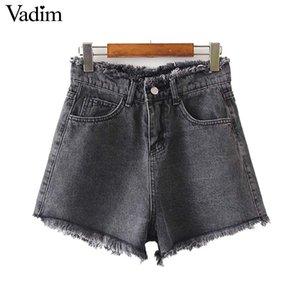 Vadim women stylish summer denim shorts pockets zipper female casual black blue wear short basic pantalone cortos SA120