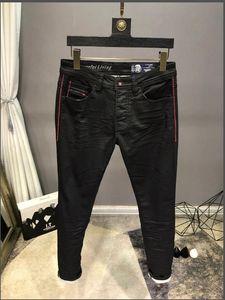 TOP Mens Designer Jeans French Style Fashion Black Stripe High Quality Skinny Spliced Ripped Jeans Street Arrrival Biker Denim US Size 28-40