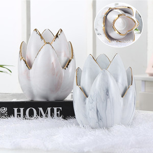 Candlestick Gold stroke Ceramic Marble Candle Holder Pink Lotus Candle Jar Sticks Accessory Small Tealight Holder Home Decor