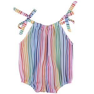 لطيف قوس قزح مخطط BODYSUIT 2017 صيف جديد طفل الطفل بنات مخطط الرسن أكمام الشريط سترة القفز Sunsuit الملابس