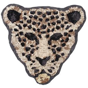 Cartoon novo animal de grande porte lantejoulas remendo leopardo tigre pano bordado Sew em acessórios de decoração