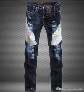 Mens Designer populaires Jeans Aigle Bleu Patchwork Slim Straight Leg Jeans Mid taille Jeans Hommes Vêtements