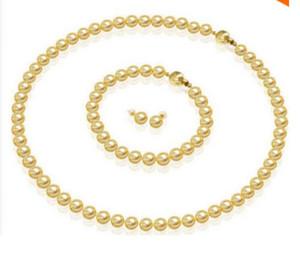 Parure de bijoux Argent crochet8MM Collier de perles doré akoya avec coquille 18 ''