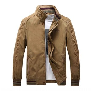 Jacket men's casual large size stand collar color matching coat Jacket coat Autumn Tide 873 dad's wear