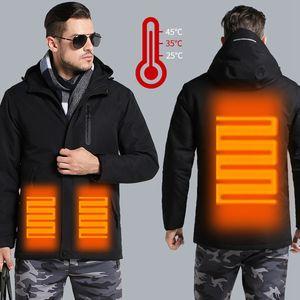 Пары USB с подогревом куртка Мужчины Женщины Плюс Размер Водонепроницаемая куртка Мужчины вниз Хлопок Пешеходные пальто теплый дождь Regenjacke HERREN