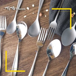 Tito titanyum Kaşık bulaşığı titanyum Çatal Ultralight saf Spork Çatal Kamp kaşığı Pişirme cilalı