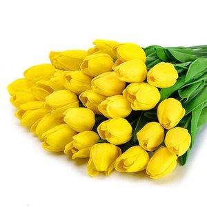 Мода тюльпаны PU Latex тюльпаны Искусственных цветы для Свадебных Главных партий фестиваля украшения Искусственных цветов