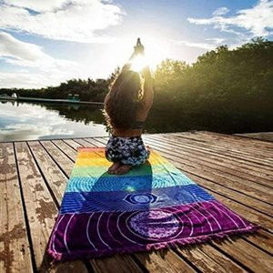 DHL Shipping Rainbow Chakra Tapestry Hippy Boho Meditation Yoga Rug Beach Towel Tassel Striped Floor Mat Sunscreen Shawl Tapestry B135F