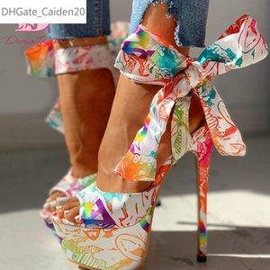 Doratasia Сексуальная обувь Печать Супер тонкий высоких каблуках обувь сандалии женщин Summer Party Platform пят обертка Женщина Сандалии женские