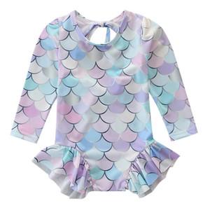 SAGACE filles enfants Cuet sirène échelle volantée maillot de bain bowknot à manches longues pièces Maillots de bain pour bébé maillot de bain bébé