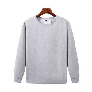 Les derniers automne et pull gris à manches longues en coton décontractés pour hommes hiver encolure ras du cou polaire chemise JH-022-052