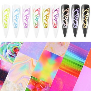 3D Adhesive Transfer Foil Manicure Tips Sticker Holographic Nail Decal Flourrescent Glitter Nail Stickers Art Decoration