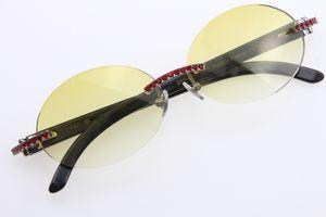New Style Black Flower Buffalo Horn 3524012 Randlos-Brille Runde Red Diamond Gläser Modemarke Buffalo Horn für Männer Sonnenbrillen