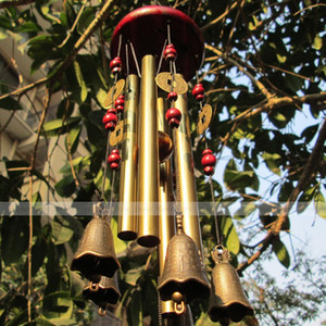 Party Decoration 4 Tubes 5 Bells Copper Windchimes Yard Garden Home Outdoor Church Wind Chimes Feng Shui Home Decor