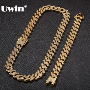 UWIN NE + BA Mode Bijoux Bracelets Colliers 15mm mode de couleur d'or Glacé 2 rang Prong Chaînes de Cuba Lien pour les hommes femmes