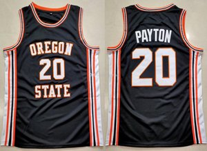 Gary Payton # 20 Oregon Eyalet Kunduzlar University College Retro Siyah Basketbol Jersey Erkekler Dikişli Özel Herhangi Numarası Adı Formalar