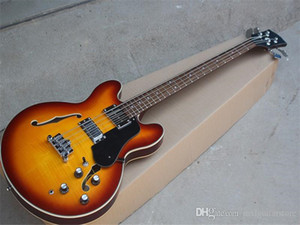Semi-hollow Electric Bass Guitar with Rosewood Fretboard,4 Strings,22 Frets,Flame Maple Veneer,can be customized.