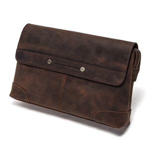 Travel Men Clutch Bags Crazy Horse Leather Long Wallet Men Large Capacity Handy Bag Phone Pocket Male Purse