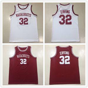 College Umass Massachusetts minutemen # 32 Julius Dr. J Erving Throwback Basket Basket Jersey Mens Cucita Dimensioni personalizzate S-5XL