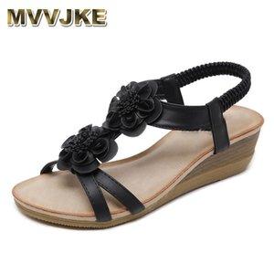 MVVJKE Sommer-Keil-Sandelholz-Frauen Böhmen Peep Toe Oxford Sandalen Fashion Blumen Ethnic weiche Plattformen Strand