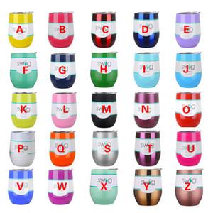 Großhandel gedruckt 12oz Weingläser Multi Farben Edelstahl Becher Tassen anpassbare Weinflaschen Bier Cocktail Cups mit Deckel DH0768 T03