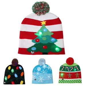 LED Christmas Knitted Hat Christmas Light Beanie Hat Outdoor Light Velvet Ball Ski Hat Santa Claus Snowman Reindeer Christmas Tree SZ486