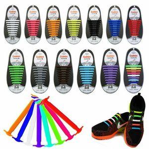 16 / 12Pcs 11 Colori facile Nessun legame di gomma elastica in silicone scarpe lacci colorati lacci delle scarpe per adulti bambini pigro formatori di trasporto