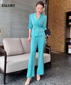 Establece la alta calidad de la chaqueta 2020 del juego del resorte de Trabajo de Verano Las mujeres de cuello con muesca Blue Coat Rose Red Blazer + pantalones largos fija los juegos de 2 piezas