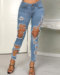 2019 Popular Moda Womens destruídos Ripped afligido Magro Denim Jeans estiramento magro sexy Buraco Pencil Calças escavar Jeans