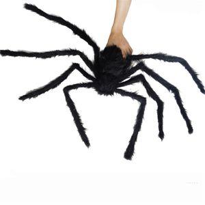 150 cm / 59 pulgadas Negro asustadizo del Partido Prop gran araña niños de la felpa juguete para niños de Halloween Favores fuentes de la barra KTV decoración de Halloween JK1909XB