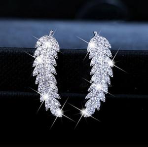 2020 Yeni Moda Kadın Altın Gümüş Gül Altın Zirkon Yaprak Küpe Twinkle Lüks Kristal Yaprak Küpe Sevgililer Günü Hediyesi