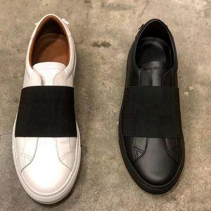 scarpe da corsa delle donne degli uomini della via di Parigi urbana tessitura sneakers in pelle delle donne degli uomini bianchi fasce elastiche addestratori bassa top scarpe casual