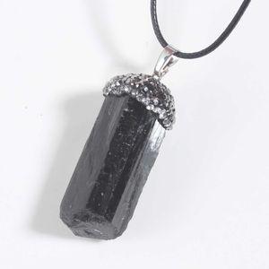 10 Pcs Ethnic Style Irregular Shape Black Tourmaline Stone Pendant with Rhinestone Silver Plated Charm Jewelr